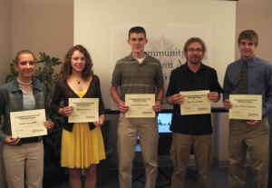 Five students at our scholarship banquet