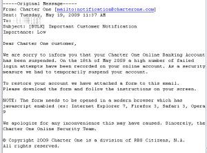 Fake Charter One e-mail
