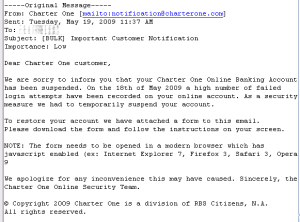 Fake Charter One e-mail