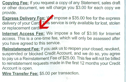 First Premier internet fee?